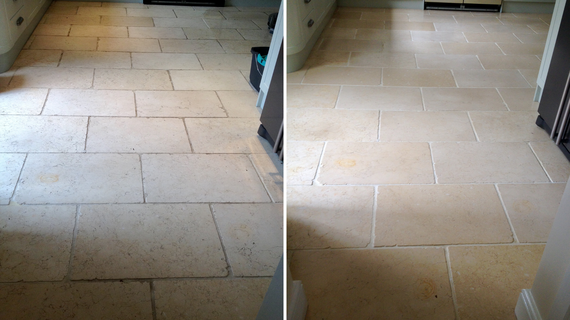 Limestone floor before and after cleaning