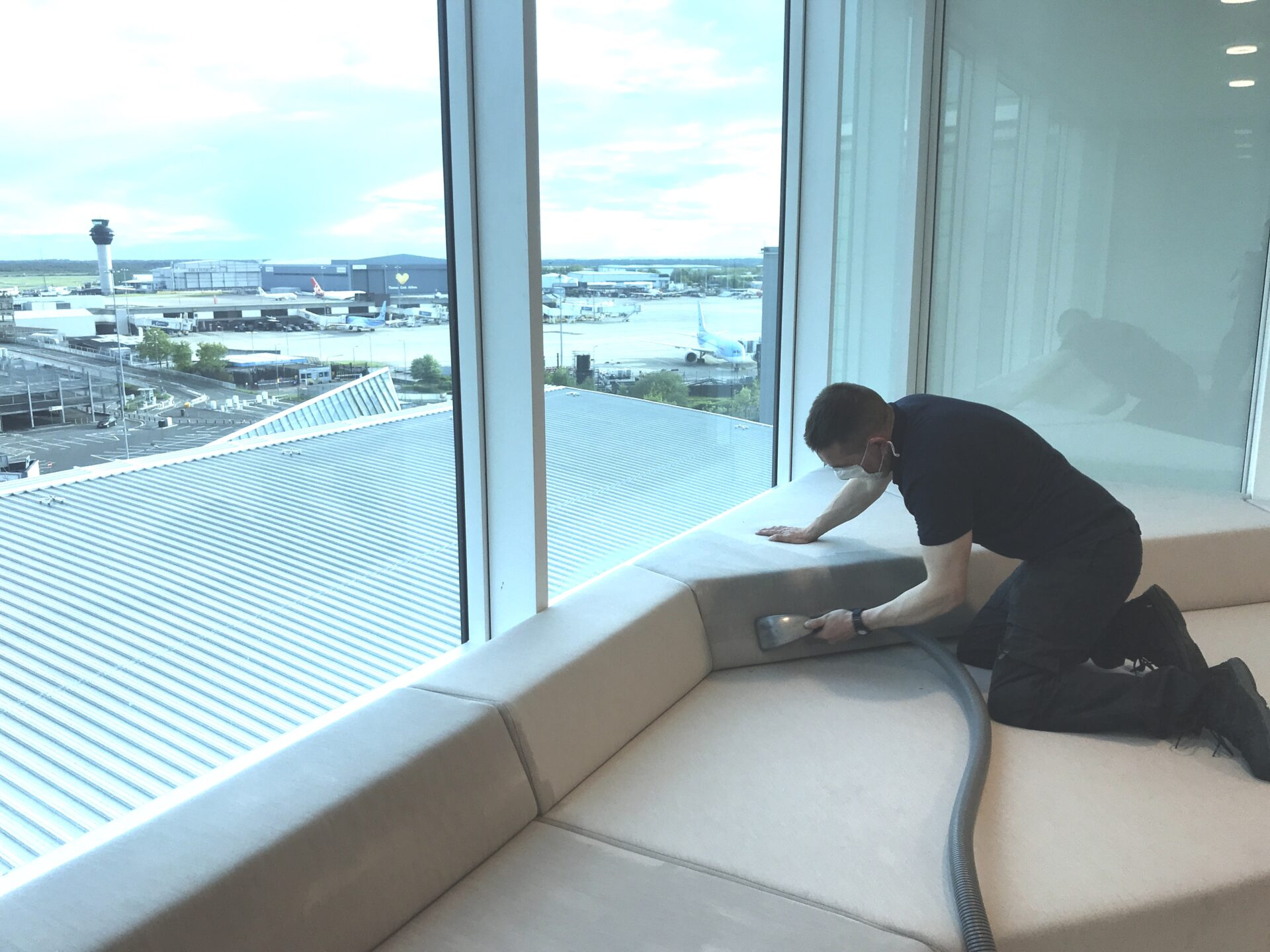 Commercial upholstery cleaning of an Airport lounge