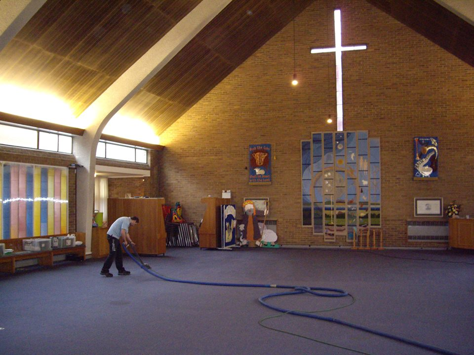 Commercial carpet cleaning in a church