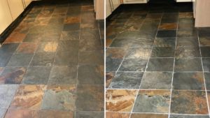slate floor before and after cleaning